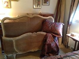 Queen size French cane bed