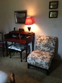 toile chair, small desk and chair, queen Ann styled bench