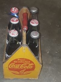 1940's-50's wooden Coke carrier with Bottles