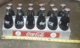Rare Vintage 1950's Metal Coca-Cola 12 -Pack bottle carrier w/ 12 bottles