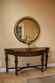 Pretty Console table with Braided Mirror