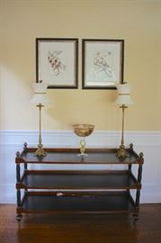 3 Tiered Table with Pair of Lamps,  Art and Decorative  Candy Dish