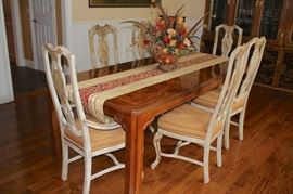 Drexel Dining Room Table and Eight Chairs with Asian flair