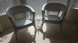 $30   each White wicker chairs