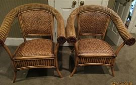 pair rattan chairs