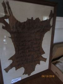 Islamic scripture on lamb skin