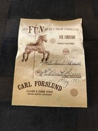 Carl Forslund label on chair