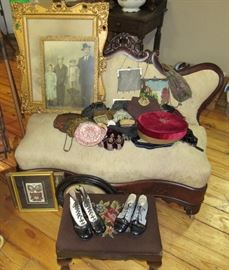 Small Victorian Settee, Beaded & Chain Purses