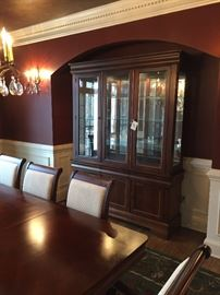 "Havertys china cabinet. Measures about: 84"" high, 82"" wide, 16"" deep"