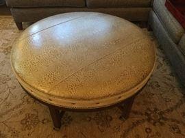 "Round leather ottoman 40"""