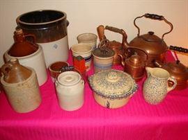 Jugs & Crocks, Copper Kettles, Roseville Pottery