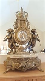 Italian Imperial Brass Mantel Clock
