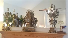 Italian Imperial Brass Mantel Clock w/ Matching Marble Candelabras Set