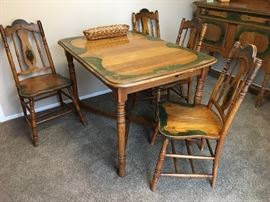Handpainted Table and Chairs x 4