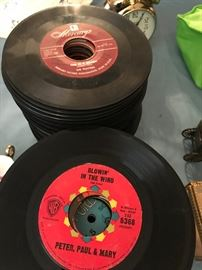About 100 old 45 records