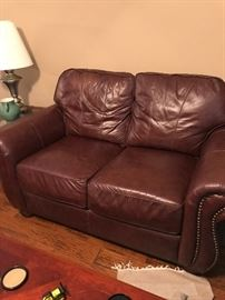 Fine Leather Couch One of Two Matching