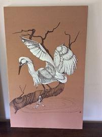 """Egret Fabric Art. 19"""" x 30""""."""
