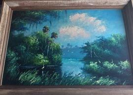 "Florida Highwaymen Artist Livingston Roberts considered one of the original nine Highwaymen Artists. 36""W x 24""H."