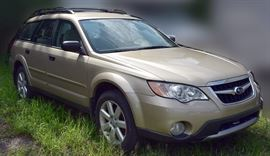 At 8PM: 2009 Subaru Outback Sport Wagon Only 28,753 Miles!; Gold Exterior, Gold Sport Cloth Interior; Standard AWD; Power Windows, Locks, Mirrors, Driver's Seat; AM/FM/MP3/CD/Satellite Stereo with Harman/Kardon Sound System; Heated Front Seats, and more. VIN: 4S4BP61C797348359 Auto Terms - Autos are sold AS IS, in AS FOUND/ESTATE condition. - Minimum of 10% deposit due on day of auction. May be paid with Cash, Check, VISA, MC, Debit. - Balance paid in full by Thursday following. Must be paid with Cash or Certified Bank Check ONLY