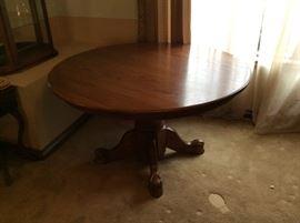 "54"" Oak Dining Room Table w/ Ornate Carved Base - $175"
