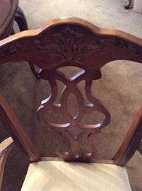 "Ornate Detail On Chairs - 100"" Long Dining Room Table w/ 6 Chairs (Table is $275 & 6 Chairs $150) Buy the entire set for $375"