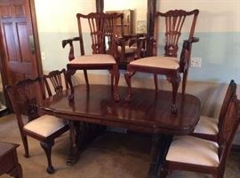 "88"" Long Dining Room Table & 6 Matching Ornately Carved Chairs - Table is $175 and 6 Chairs are $425 - buy both table and chairs for $500"