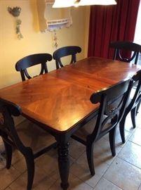 Beautiful Farmhouse Table w/ 6 Black Chairs & Cream Cushions - $375