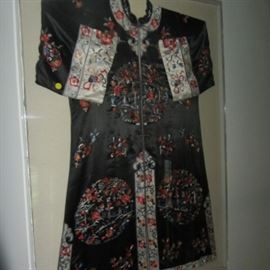 CHINESE EMBROIDERED ROBE IN LUCITE FRAME