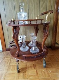 Wheeled Wooden Bar Cart with Gold Metal Accent    http://www.ctonlineauctions.com/detail.asp?id=701621
