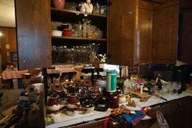 Stemware, stoneware, misc kitchen items
