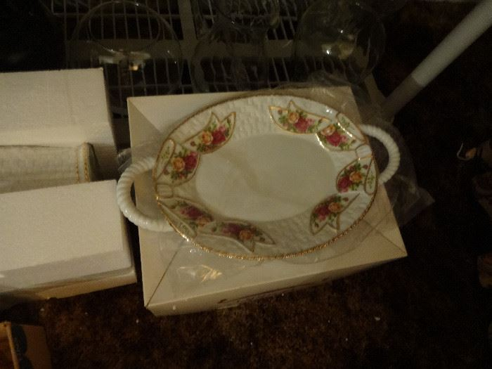 New Royal Albert platter,  Also new basket weave cookie jar.