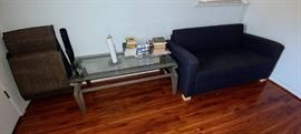 pullout mini sofa, glass top coffee table