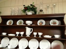 Additional Milk Glass pieces include 2 sugar/creamer sets; Pitcher; candy dish (lid in cabinet) and 2 small and 2 large nut bowls, perhaps ashtrays; Flower Basket with handle.
