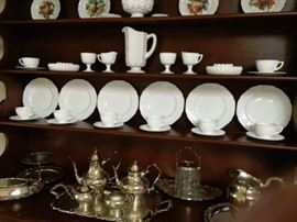 Milk Glass dishes; service for 6 with 2 extra cups and saucers