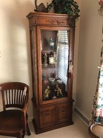 1960's Lighted Fruitwood Finish Curio Cabinet