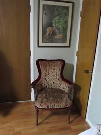 Sheraton occasional chair.  Signed and numbered print
