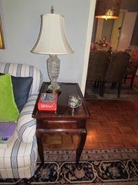 Mahogany tea table with crystal tale lamp