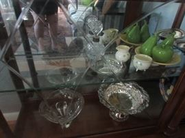 Silverplate, and porcelain, and crystal