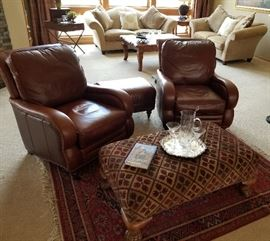 Leather Arm Chairs Ottoman and Oriental Area Rug