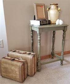 Side Table Vintage Suitcase Decor