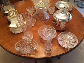 crystal and silverplate serving pieces