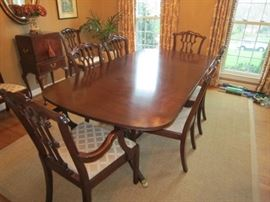 "Henkel Harris double pedestal dining table with 2 arm chairs and 6 side chairs. 68""-108"" x 44"""