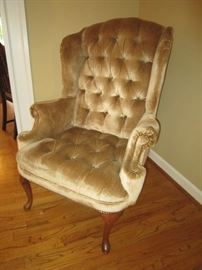 Tufted back wing chair