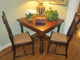 English Oak draw leaf table, barley twist legs with 4 chairs