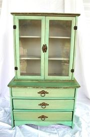 Glass front hutch on chest, doll furniture or salesman sample