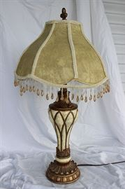 Antique slag glass lamp with shade