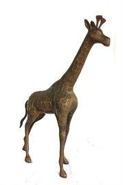 """Brass giraffe figure, about 36"""" tall"""