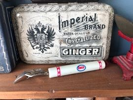 Imperial Brand Extra Quality Crystallized Ginger Advertising Tin and Enco Can Opener