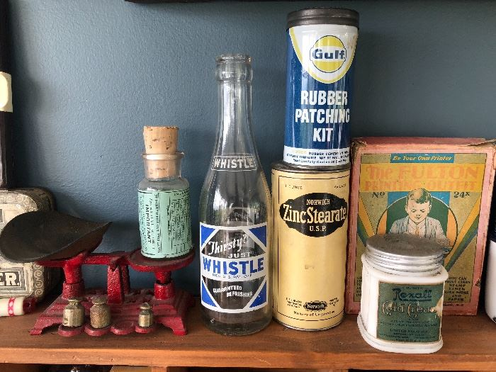 Whistle Soda Bottle, Norwich Zinc Stearate Tin, Gulf Rubber Patching Kit, Rexall Cold Cream in Milk Glass Jar, The Fulton Printing Outfit and Small Scale with Brass Weights