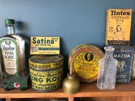 Vaseline Hair Tonic bottle, Satina Ironing Aid box, King Kole Double Quick Time Cleaner tin, Rawleigh's Antiseptic Salve tin, Mazda Auto Lamps tin, Tintex Curtain Dye box, oil can, Princeton NJ bottle